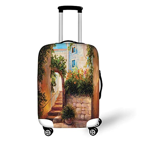 Travel Luggage Cover Suitcase Protector,Rustic,Stone Street Gate in an Old Town with Blooming Flowers Oil Painting,Dark Orange Dark Green,for Travel XL - Cherry Flower Stand