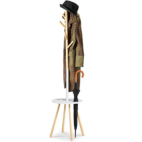 VonHaus Retro Coat & Umbrella Stand With Solid Pine Poles and Table - Wooden Hallway Furniture