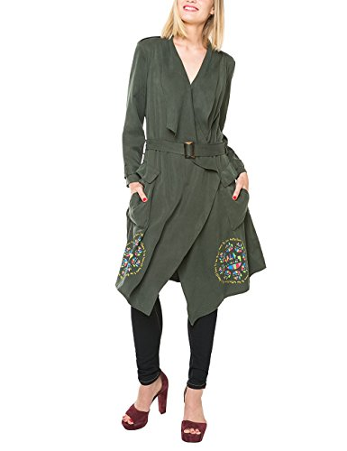 Desigual Chaq_Cheryl, Impermeable para Mujer, Verde Botella, 42