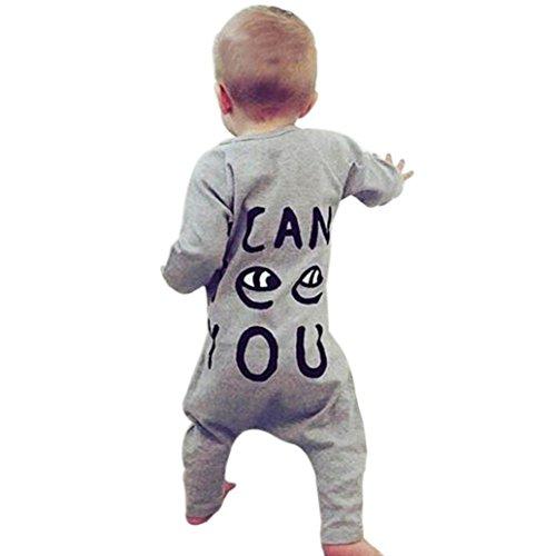 Luckycat Infant Neugeborenes Baby Mädchen Kinder Baumwolle Druck Strampler Overall Kleidung Outfit (18M--90cm, Grau)