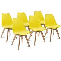 IDMarket - Lot de 6 chaises SARA Jaunes pour Salle à Manger