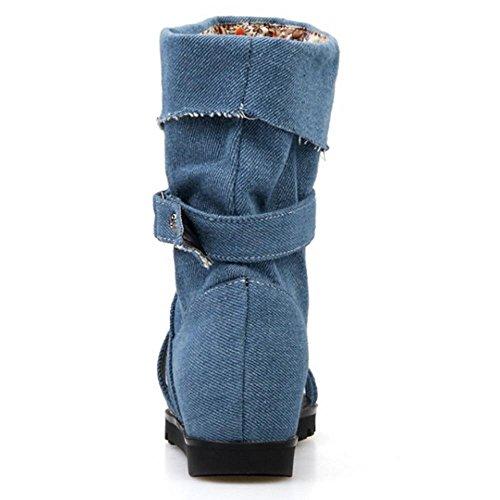 TAOFFEN Femmes Chaussures Bout Ouvert Talons Compenses Ete Sandales De Bouton 568 Bleu Fonce