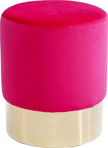 Kare Polsterhocker Cherry Brass, Kleiner, Moderner Design Hocker mit Samtbezug, rund, Pink-Messing (H/B/T) 42x35x35cm