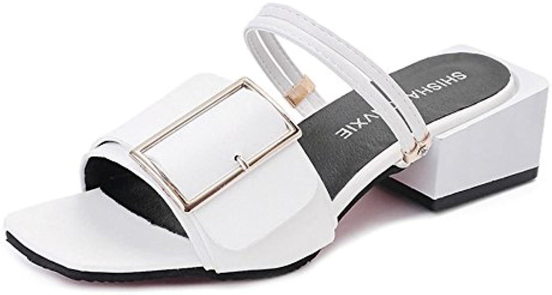 Sandalias Feifei Zapatos de Mujer Verano PU Material Vintage Casual 3 Color Opcional (con Alto: 4.5CM) (Color...