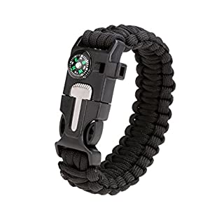 Paracord Bracelet - All4you Survival Flint Fire Starter Scraper Whistle Gear Kits for Outdoor Hiking Emergency(A)