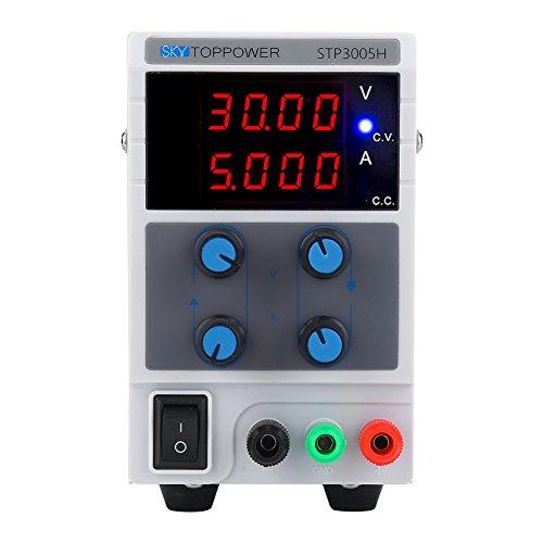 Xinrub SKYTOPPOWER 4 Dígitos Fuente de Alimentación Regulables Laboratorio, 0-30V 0-5A Fuente de Alimentación 110/220V con Cables de Alimentación Cocodrilo y Alimentación Cable(EU) (EU-Enchufe)