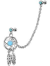 kimberleystore especial diseño Dream Catcher Star Helix Tragus Cartílago de la oreja Cuff oreja Piercing Stud Pendientes con