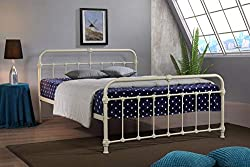 Mandy Double Metal Bed Frame Cream Hospital Victorian Style Small Double King Size Bed (5FT King Size)