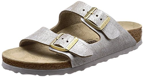 BIRKENSTOCK Damen Arizona Sandalen, Blau Washed Metallic Blue Silver, 35 EU