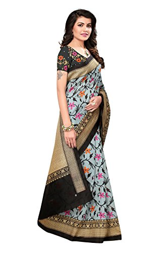 Mrinalika Fashion Women'S Art Silk Saree With Blouse Piece (Srja005_Black_Freesize)