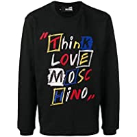 Love Moschino Felpa Uomo m 6 536 01 m 3875 Black Scritte a Ricamo  Multicolor ss19 0198e4eeee4