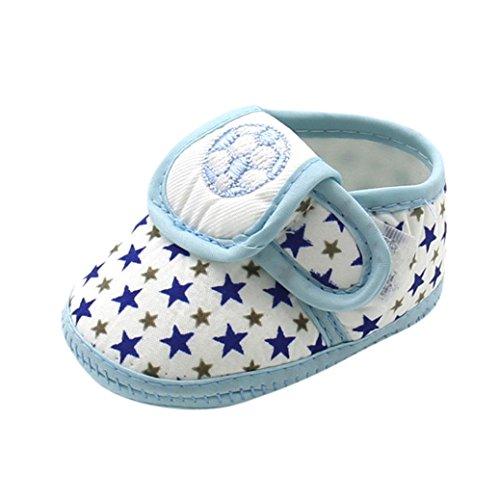 FNKDOR Neugeborene Baby Jungen Schuhe Sterne Fußball Weiche Sohle Hausschuhe(06-12 Monate,Blau)