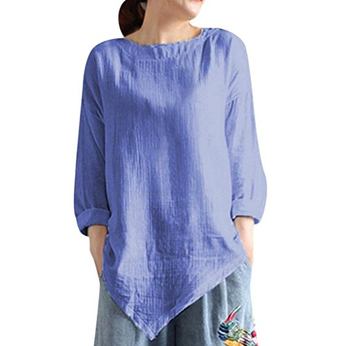 UFACE Damen Frauen Baumwolle Langarm Top Sommer Vintage Baumwolle Leinen Langarm Shirt Casual Lose Bluse Tee Top(Blau,EU/42CN/M)