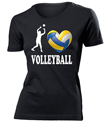 I Love Volleyball 4461 Damen T-Shirt (F-SW) Gr. L (Volleyball Love T-shirt)