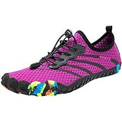 LuckyGirls ❤️• •❤️ Zapato de Agua para Buceo Piscina Snorkel Surf Mujer Playa Calzado Natación Deportes Zapatillas Aire Libre con Cordones Escarpines Aquagym Pareja Secado Rápido