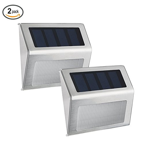 Deck Teich (Websun Solar Step Lights 3 Led Wireless wasserdichte Edelstahl Solar Powered Treppenlicht Outdoor Beleuchtung für Deck Patio Pfad Zaun(2-Pack))