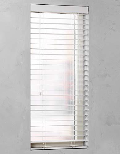 Premium Design Jalousie mit 50mm Lamellen PVC/Holz Optik weiß und anthrazit (Weiß, 60 x 130 cm) - Holz-jalousien Weiße