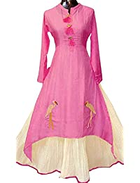 Harikrishnavilla Women's Cotton & Crush Semi-Stitched Salwar Suit Set (Pink White Kurta_Pink_Free Size)