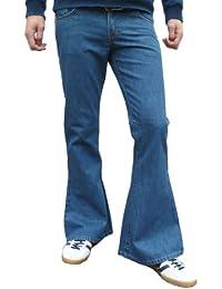 Fuzzdandy - Jeans Hommes rétro bleu délavé patte éléphant
