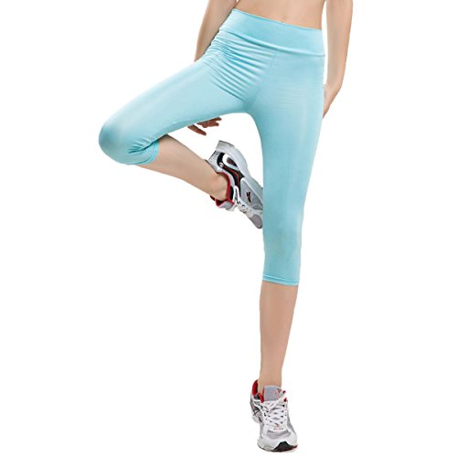 Seamless 3/4 Length Leggings Stretchy Yoga Pants Basic Capri Leggings
