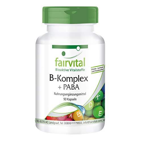 Vitamin B Komplex 75 mit PABA (Para-Aminobenzoesäure) - HOCHDOSIERT - VEGAN - 90 Kapseln - Vitamin B-Komplex - B-komplex 90 Kapseln
