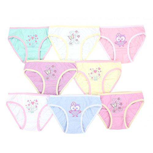 TupTam Mädchen Slip mit Aufdruck Baumwolle 8er Set, Farbe: Farbenmix 3, Größe: 116-122 (Mädchen Unterhosen)