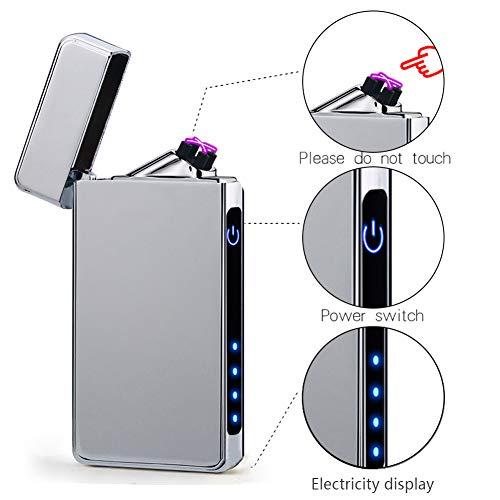 suroper USB Elektronisch Feuerzeug Dual Lichtbogen Feuerzeug Wiederaufladbar USB Aufladbares Windfestes e Feuerzeug Metall Herren Geschenk (Silber)