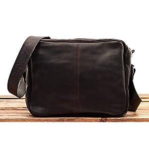 41asQ15eQOL. SS300  - PAUL MARIUS LE RETRO INDUS, Bolso bandolera de cuero, estilo vintage, tamaño A4, color marrón oscuro Vintage & Retro