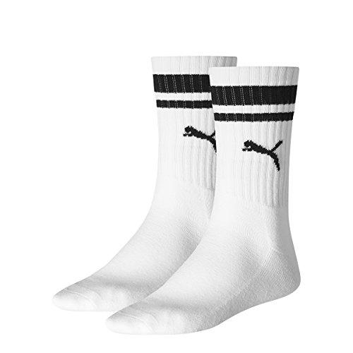 PUMA Herren Socken CREW HERITAGE STRIPE 2P UNISEX, white, 35-38, 261058001 (Sock 2 Basketball Crew Pack)