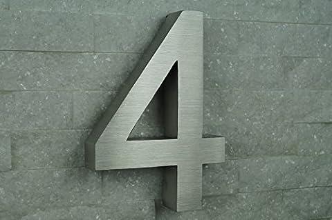 HAUSNUMMER EDELSTAHL Nr.4 / H20cm / Arial in 3D-Design /