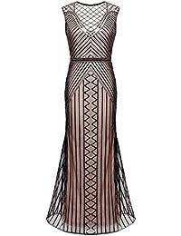 FAIRY COUPLE Longue Robe Flapper Pailletté Embelli de Frange 1920s Style de Gatsby D20S019
