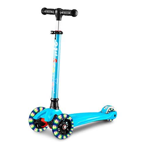 3 Wheel Kick Scooter Für Kinder, 3 Höhenverstellbar, Schlank Zum Lenken Mit PU-LED Leuchten Blinkende Räder Für Jungen Mädchen 3-14 Jahre Alt, Schwarz/Blau / Pink/Rot