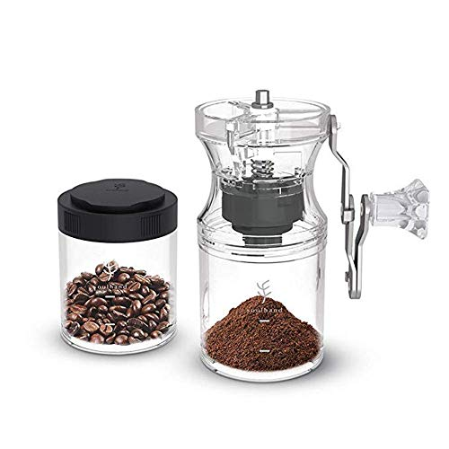 Soulhand Manuelle Kaffeemühle Hand-Kaffeemühle Verstellbare Keramikkegelmühle mit zwei Kaffee-Tassen und verlängerbarer Kurbel Leichtgewichtig und mobil Geeignet für das Home Office und zum Camping
