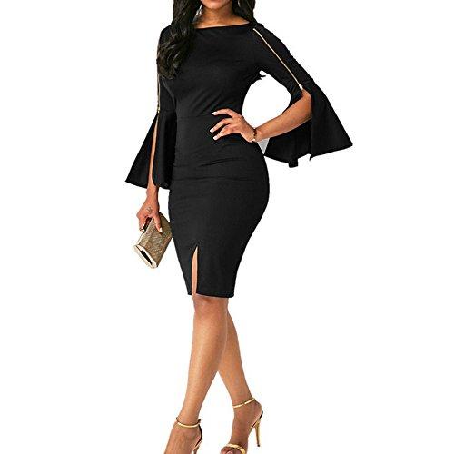 VENMO Damen Zipper Fashion Sexy Kleid Abendkleid Mode Sexy Dessous Party Minikleid Club Party Abendkleid Damen Langarm Kleider Mit Knöpfen in der Front und Gürtel Enge Selbst Kultivierung Hintern gewickelt Schlank Langarm Kleider (Black, XL) (Damen-knopf-front-jacke)