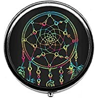 LinJxLee Black Dream Catcher Portable Round Pill Case Pill Box Medicine Box Medicine Tablet Vitamin Organizer... preisvergleich bei billige-tabletten.eu