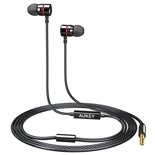 AUKEY Cuffie in Ear con Microfono, Auricolari in Metallo con Isolamento dei Rumori Audio Stereo per Smartphones, Tablet, Laptops ed altri Dispositivi