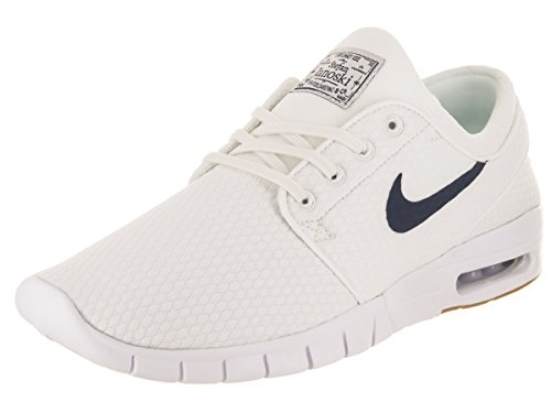 Nike Stefan Janoski Max, Chaussures de Skateboard Homme Blanc (Summit White/thunder Blue-gum Medium Brown 103)