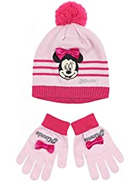 c9b41b21495d Minnie Set bonnet et gants enfant fille Gris rouge de 3 à 9ans
