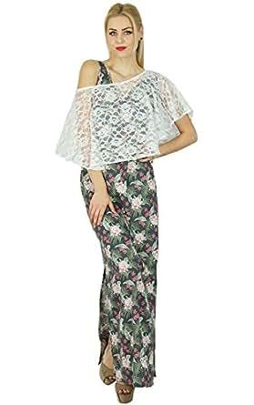 Bimba Frauen Lange Rayon Maxi Slit Kleid mit Net Poncho Signature Collection Chic Stil