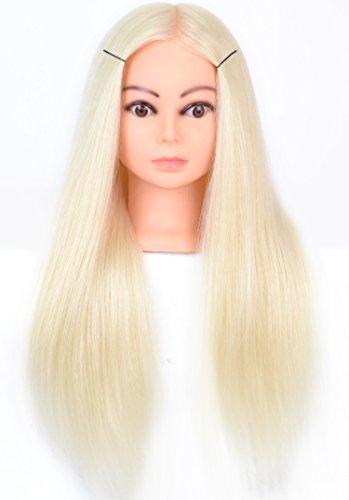 Tête à coiffer, tête d'entraînement de cosmétologie, 50 cm, 60% cheveu (humain et animal) et 40% fibre synthétique haute température. Couleur blonde