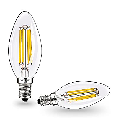 E12 LED Candelabra Bulbs 4W 2700K Warm White Non-Dimmable by COOWOO by COOWOO