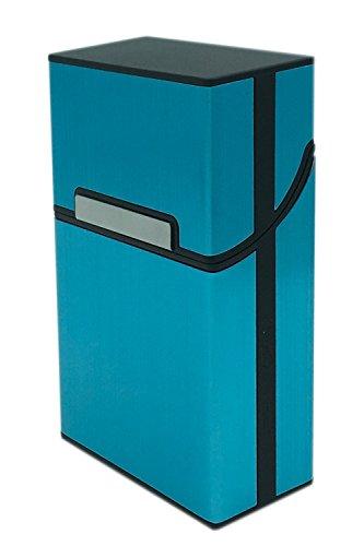 Elegante und Robuste Zigarettenbox mit Überzug aus gebürsteten Alu - für 20 Zigaretten (Blau)