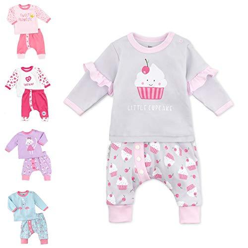 Baby Sweets Baby Set Hose und Shirt Mädchen grau rosa | Motiv: Little Cupcake | Baby Outfit 2 Teile für Neugeborene & Kleinkinder | Größe 6-9 Monate (74)...