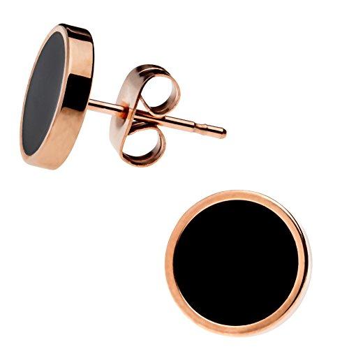 Elegante schlicht klassische runde Damen Ohrstecker Ohrringe Edelstahl Rosegold / Schwarz 10mm