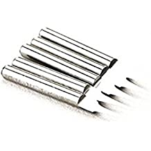 Autek Juego de 5 brocas de grabado de metal duro PCB, para fresadora con CNC, 10°, 0.1 mm, J3.1001