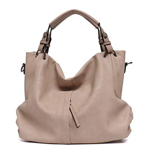 Yiwjby Große Frauen Leder Handtaschen Frau PU Hobos Schultertasche Solide Taschen Damen Tote Messenger Bags Beige -