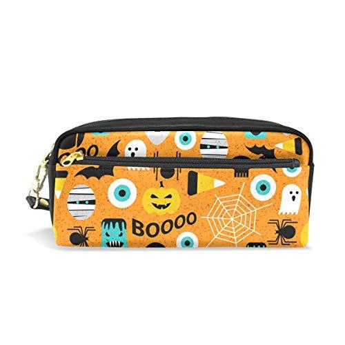 Federmäppchen mit Halloween-Muster, für Kinder, Jungen, große Ledertasche mit Reißverschluss, für Schule, Studenten, Kosmetik, Make-up