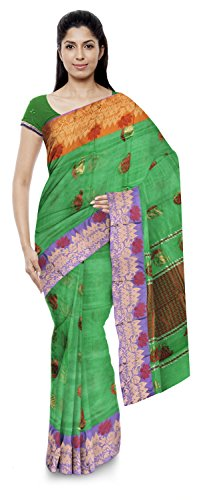 Jamil Kota Doria Sarees Cotton Saree (Wh012_Multi Color Green)