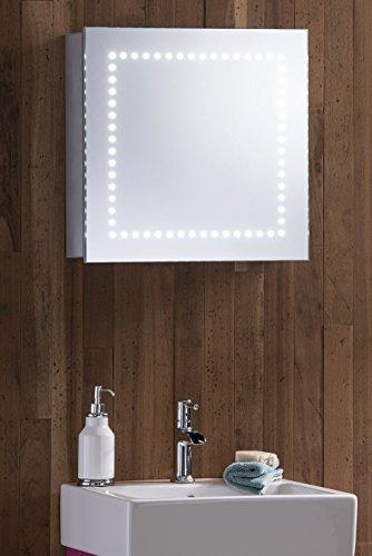 LED beleuchtet Badezimmer Spiegelschrank 50 cm (H) X 50 cm (W) X 15 cm (D) mit Demister, Rasiersteckdose und Sensor Switch C18 mit Lichtern, TÜV