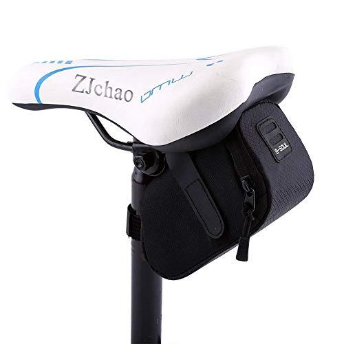 zjchao Bolso para Sillín Alforjas tija sillín de Ciclismo Impermeable para Bicicletas de Montaña y de Carretera Asiento Paquete (Negro)